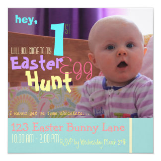 """Funny Baby's First Easter Egg Hunt Invitation 5.25"""" Square Invitation Card"""