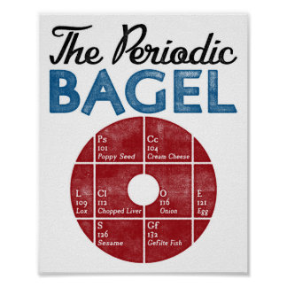 Funny Bagel Poster Periodic Table Bagel Vintage