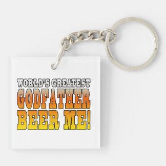 Funny Baptisms Birthdays Worlds Greatest Godfather Double-Sided Square Acrylic Key Ring