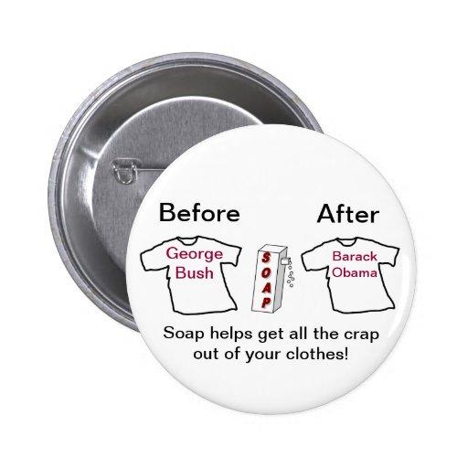 Funny Barack Obama Soap Button