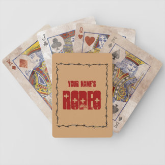 Funny Barbed Wire Frame - Your Name Rodeo Western Bicycle Playing Cards
