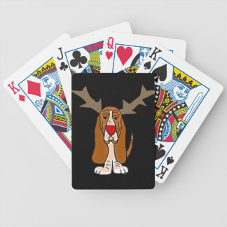 Funny Basset Hound Christmas Reindeer Bicycle Playing Cards