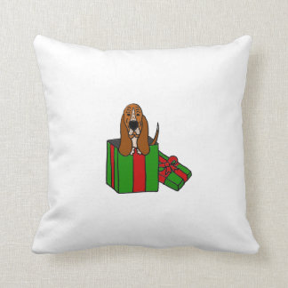 Funny Basset Hound Dog in Christmas Package Cushion