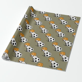 Funny Beagle Playing Soccer Wrapping Paper