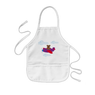 Funny bear flying by plan kids apron
