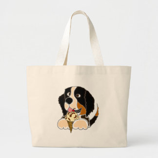 Funny Bernese Mountain Dog eating Ice Cream Cone Large Tote Bag