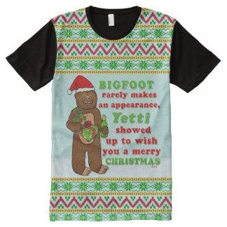 Funny Bigfoot Merry Christmas Sasquatch Pun All-Over Print T-Shirt