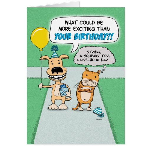 Funny birthday card: Happy Dog and Grumpy Cat
