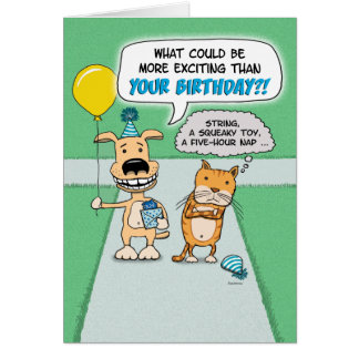 Funny birthday card: Happy Dog and Grumpy Cat Card