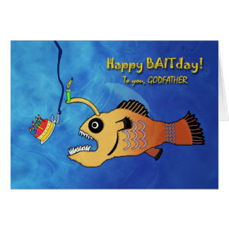 Funny Birthday for Godfather, Anglerfish Baitday Card