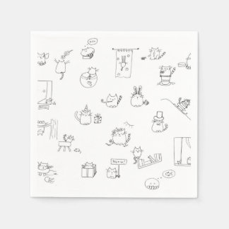 Funny black and white cat doodle disposable napkin