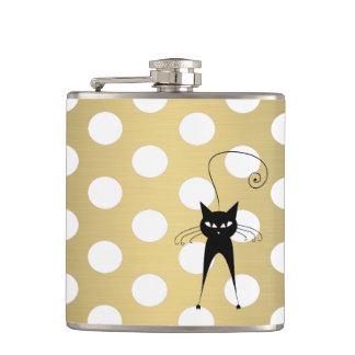 Funny black cat elegant polk dots golden hip flask