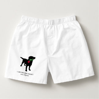 Funny Black Lab Valentine Dog holding Red Rose Boxers