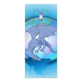 Funny blue cartoon dragon 4x9.25 paper invitation card