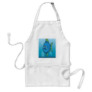 Funny blue fish design standard apron