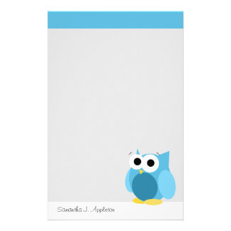 Funny Blue Owl - Personalised Stationery