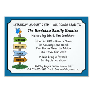 Funny Bluebird Family Reunion Invitation