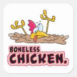 funny boneless chicken cartoon square stickers