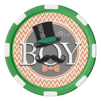 Funny Boy Baby Shower; Orange and White Chevron Poker Chips
