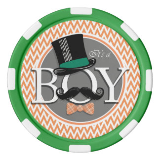 Funny Boy Baby Shower; Orange and White Chevron Poker Chips Set