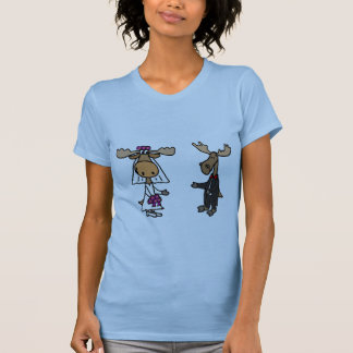 Funny Bride and Groom Moose Wedding Shirt