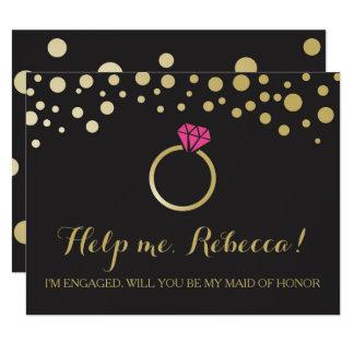 Funny BRIDESMAID PROPOSAL card ~ Black & Faux Gold