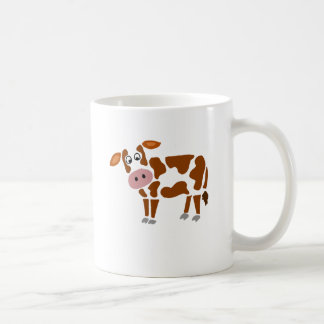 Funny Brown and White Cow Art Coffee Mug