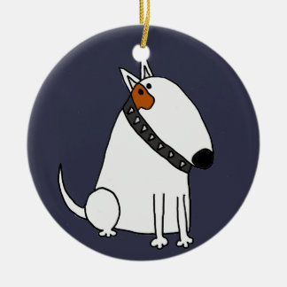 Funny Bull Terrier Dog Art Round Ceramic Decoration