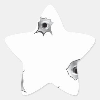 Funny Bullet Holes Star Sticker