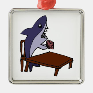 Funny Card Shark Cartoon Christmas Ornament