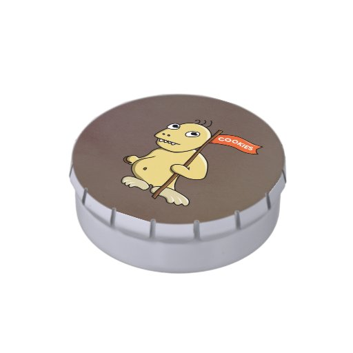 Funny Cartoon Monster With Cookie Candy Tins