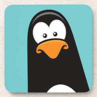 Funny Cartoon Pensive Penguin Beverage Coasters