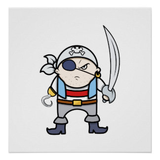 Funny Cartoon Pirate Kid Poster