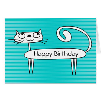 Funny Cat Birthday Card Teal