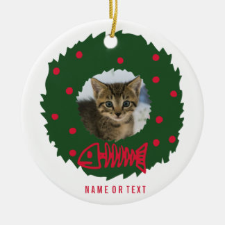 Funny Cat Christmas Wreath With Your Cat's Photo Round Ceramic Decoration