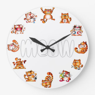 Funny Cat Posture Lover Breeder Red Wall Clock