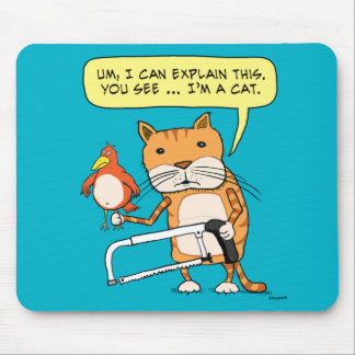 Funny Cat with Bird and Hacksaw Mousepad