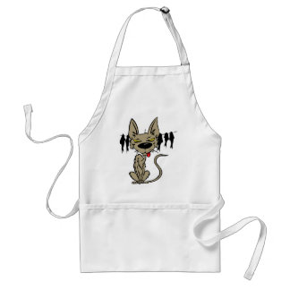 Funny Cat with Clothes Line Full of Fish Standard Apron