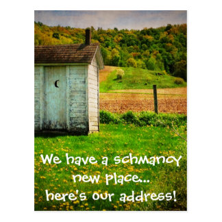 Funny Change of Address Print - Outhouse Postcard
