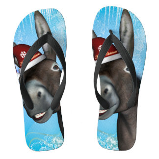 Funny christmas donkey with christmas hat jandals