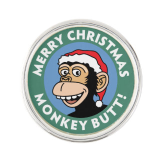 Funny Christmas Monkey Greeting Lapel Pin