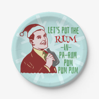 Funny Christmas Party Retro Rum Adult Holiday 7 Inch Paper Plate