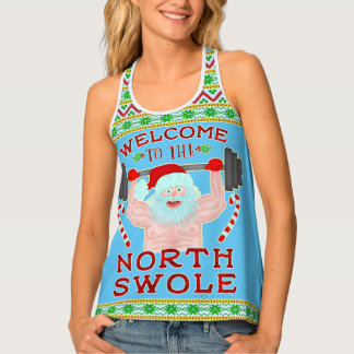 Funny Christmas Santa Claus Swole Weightlifter Singlet
