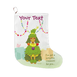 Funny Christmas Tree Poodle Large Christmas Stocking