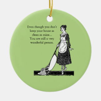 Funny Clean House - Customize Round Ceramic Decoration