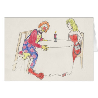 Funny Clown love & romance novelty art card