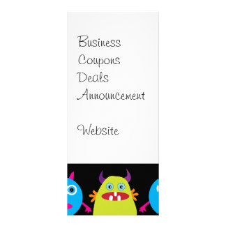 Funny Colorful Monster Party Creatures Characters Customised Rack Card