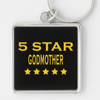 Funny Cool Godmothers : Five Star Godmother Silver-Colored Square Key Ring