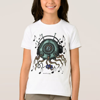 Funny cool octopus in headphones graphic t-shirt