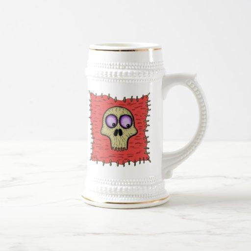 Funny cool skull on patch cartoon art beer mug